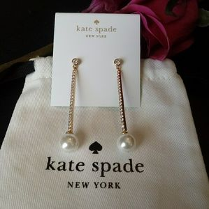 Kate Spade NWOT Gold/Pearl Long Linear Earrings